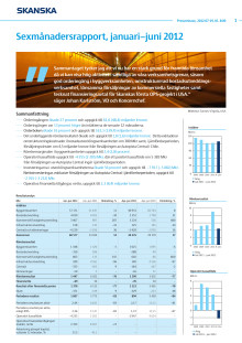 Sexmånadersrapport, januari−juni 2012