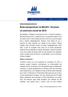 09.03.2016 - Boas perspectivas na Maritim / Sucesso no exercício social de 2015