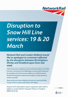 Cable theft disrupts Snow Hill line passengers