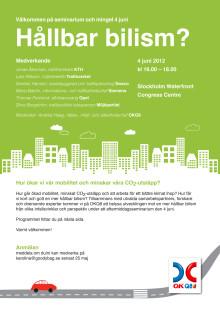Inbjudan och program seminarium om hållbar bilism 4 juni