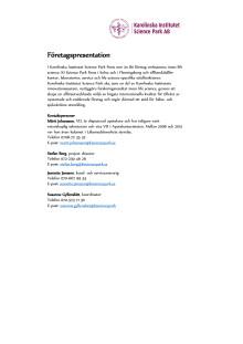Karolinska Institutet Science Park – Företagspresentation
