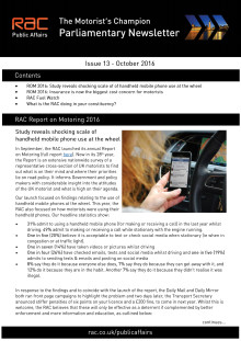 RAC Parliamentary Newsletter #13 - October 2016