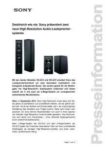 """Pressemitteilung """"Detailreich wie nie: Sony präsentiert zwei neue High-Resolution Audio-Lautsprechersysteme"""""""