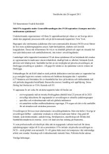 Brev till statsminister Reinfeldt