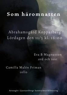 Eva B Magnusson och Camilla Malén Friman gästar Ljusnarsbergs kammarmusikförening