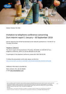 Invitation to telephone conference concerning  Duni interim report 1 January – 30 September 2018