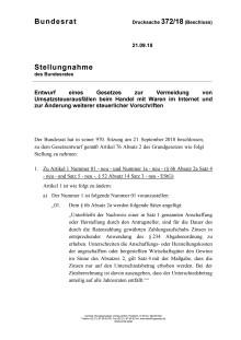 Bundesrat Stellungnahme Stellungnahme vom 21.09.2018