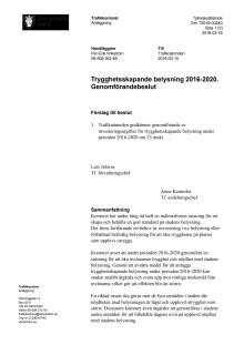 160310 Trygghetsskapande belysning 2016-2020. Genomförandebeslut