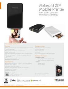 Polaroid ZIP printer, specifikationer