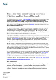 4tiitoo and Tobii Expand Gaming Experience With Gaze-enabled Demo of Minecraft