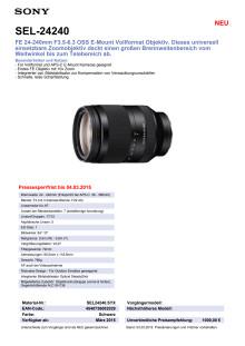 Datenblatt  SEL-24240 von Sony