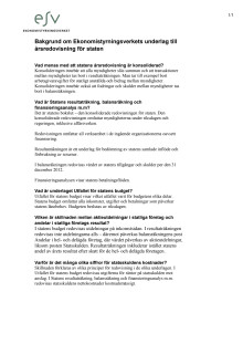 Bakgrund om ESV:s underlag till årsredovisning för staten