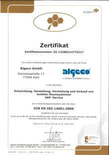 Algeco nach DIN EN ISO 14001 zertifiziert