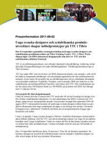 Pressmeddelande - SIDA-stödd designworkshop i Tibro