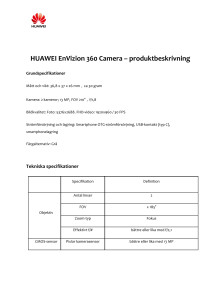 Specifikationer Huawei EnVizion 360 Camera
