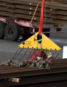 Lossning av tågräls med rälsax och triangelok från CERTEX