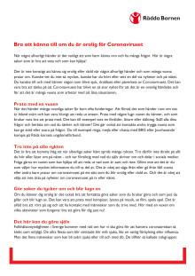 Svenska, riktat mot barn: bra att känna till om du känner dig orolig för corona