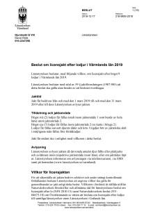 Beslut licensjakt på lodjur 2019