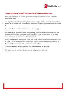 Svenska: tips till dig som har barn hemma pga corona