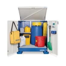 Säker källsortering av farligt avfall i DENIOS fatskåp Smart W-collect