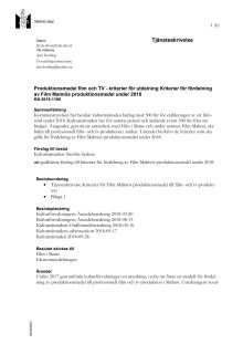Tjänsteskrivelse kriterier produktionsmedel Film Malmö