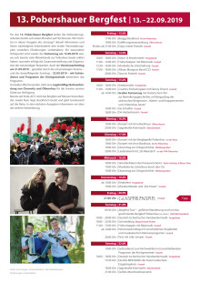 Programm Pobershauer Bergfest 2019