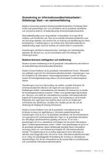 Sammanfattning. Granskning av informationssäkerhetsarbetet i Göteborgs Stad (2017-12-12)