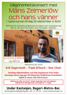 Välgörenhetskonsert med Måns Zelmerlöw och vänner i Tyska Kyrkan i Stockholm imorgon lördag 20 september.