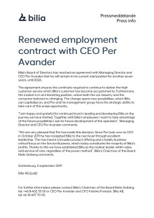 Renewed employment contract with CEO Per Avander