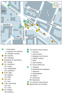 Karta med busstrafik på Södervärn