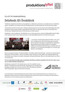 Pressrelease: DeltaNordic deltar i Produktionslyftet