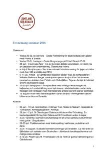Evenemangskalender Jämtland Härjedalen sommar 2016
