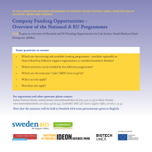 Life Science Company Funding Opportunities – Overview of the National & EU Programmes