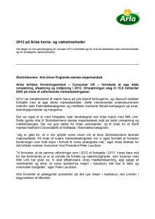 Arla regnskab 2012: kerne- og vækstmarkeder