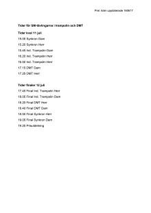 Tider för SM-tävlingar i trampolin och DMT