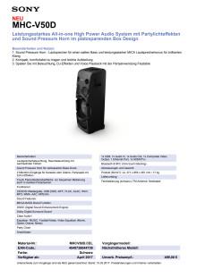 Datenblatt Party-Lautsprecher MHC-V50D von Sony