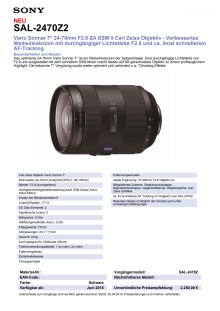 Datenblatt SAL-2470Z2 von Sony