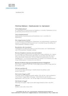 FAQ projekt Stadshuslunden i kv. Hjulmakaren, Sundbyberg