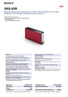 Datenblatt SRS-X5R von Sony