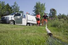 Vattenreservoar vid Solbacken töms på en stor mängd vatten
