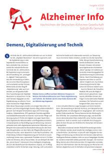 Demenz, Digitalisierung und Technik: Schwerpunktthema im Alzheimer Info 4/2018