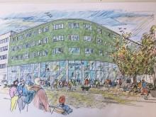 Castellum lyfter fram kv Diket, hörnet Drottninggatan - S:t Persgatan