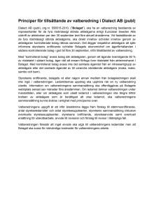 Principer för tillsättande av Valberedning - Årsstämma 2014