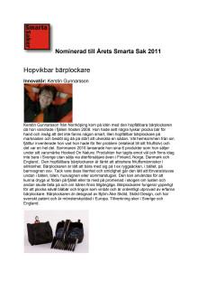 Hopvikbar bärplockare från Hooked on Nature nominerad till Årets Smarta Sak 2011.