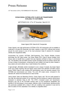 Ocean Signal SOTDMA ATB1 Class B AIS Transponder Available to Customers
