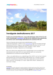 Trendigaste destinationerna 2017