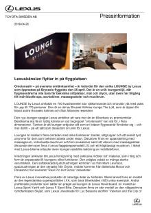 Lexuskänslan flyttar in på flygplatsen  -  LOUNGE by Lexus på Bryssels flygplats