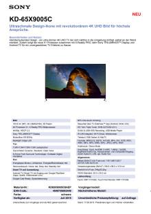 Datenblatt KD-65X9005C