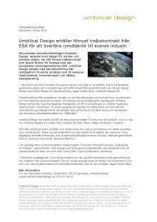 Umbilical Design erhåller förnyat treårskontrakt från ESA för att överföra rymdteknik till svensk industri
