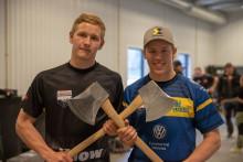 Ferry Svan och Emil Svensson gör sig klara för STIHL Timbersports säsongsstart